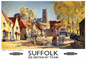 Suffolk, Kersey. Vintage BR Travel Poster.